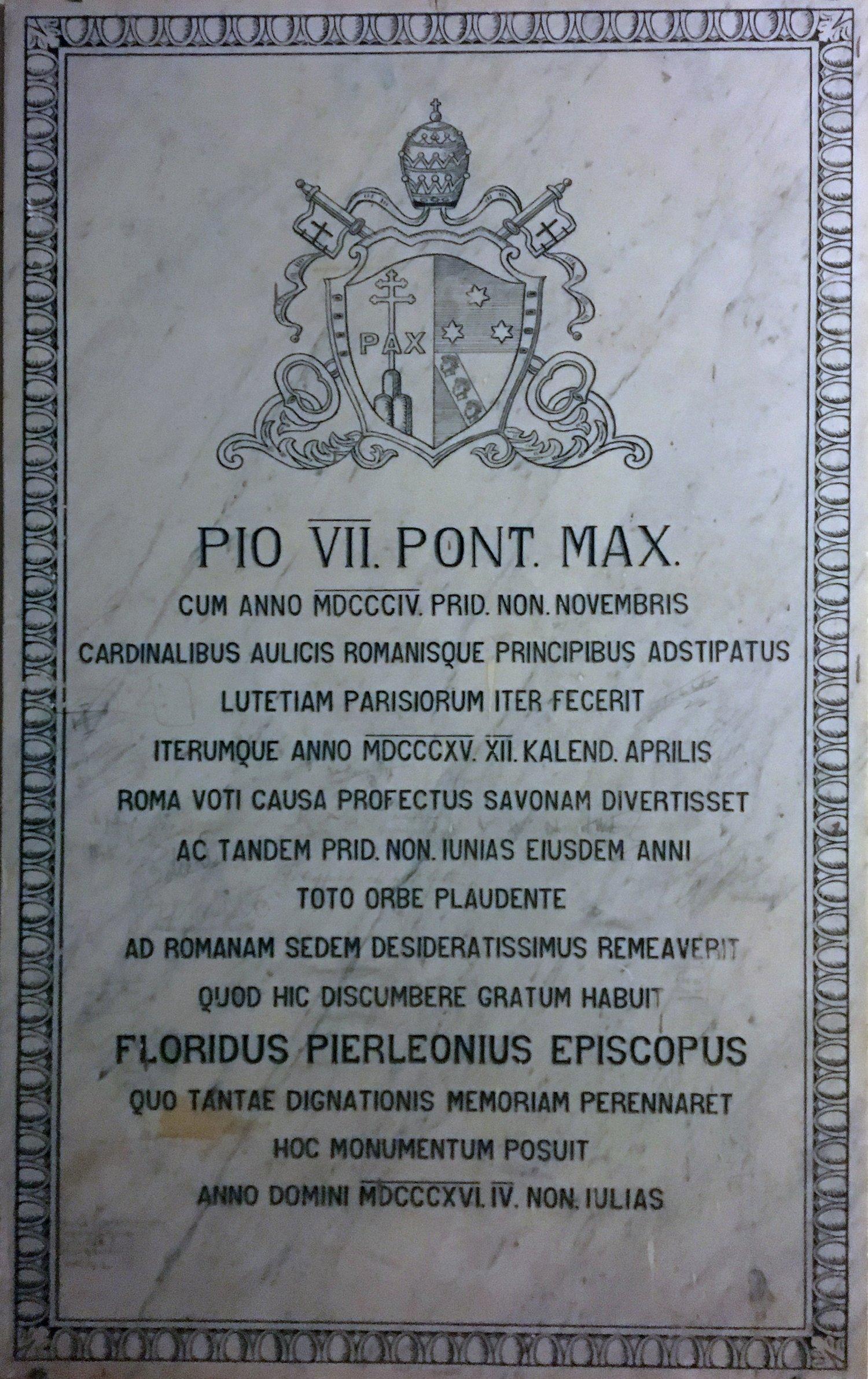 Iscrizione dedicatoria di papa Pio VII